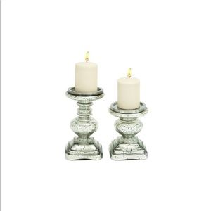 2 glass decorative candle holders
